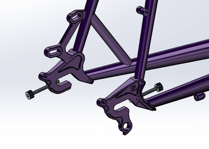 CAD illustration of a Surly Straggler bike frame - dropouts detail - right side view