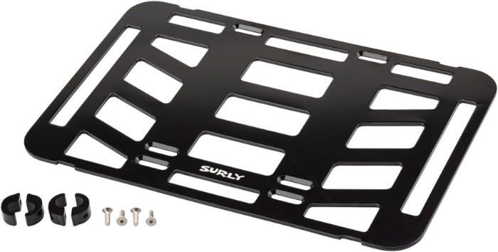 Black Surly TV Tray front bike rack with assembly parts laying on a white background