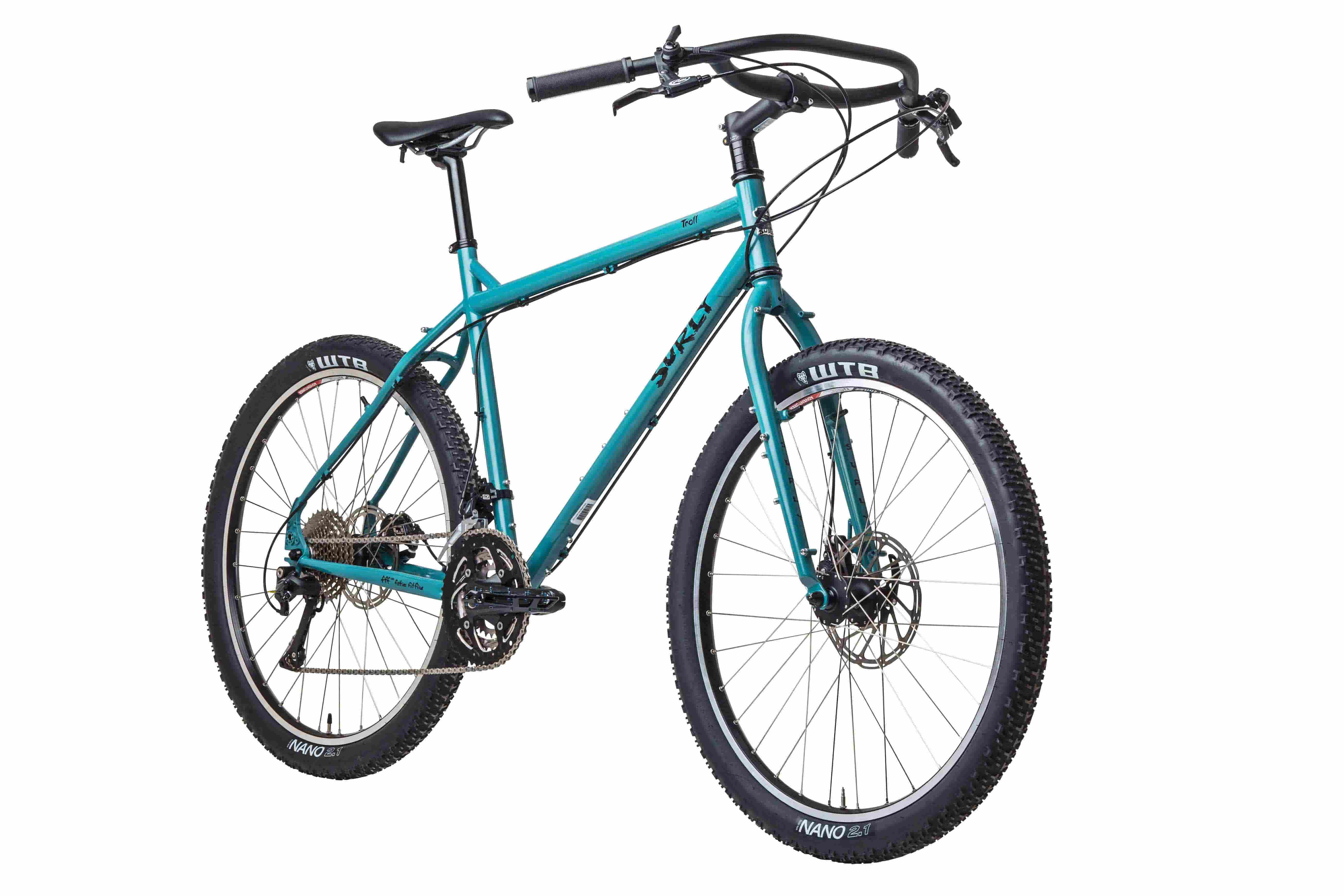 Surly Troll bike - Teal - right side angled view