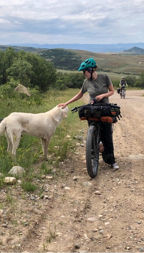 Cyclist on the side of a gravel road in grassy hills, petting a dog, while another rider pedals up a hill behind