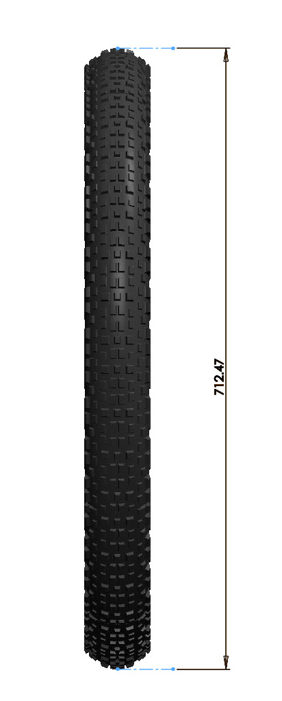 Illustration of a Surly Knard tire geometry - vertical stance