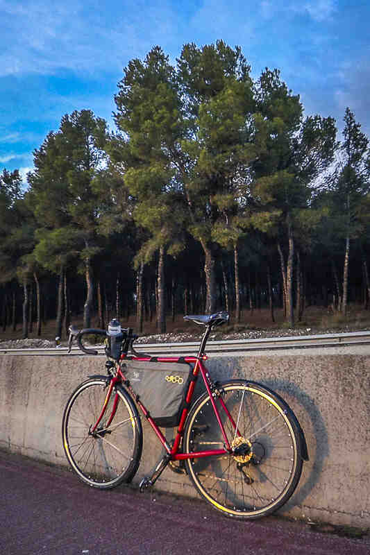 A Surly Pacer road bike,red, leaning on a concrete highway divider with trees in the background