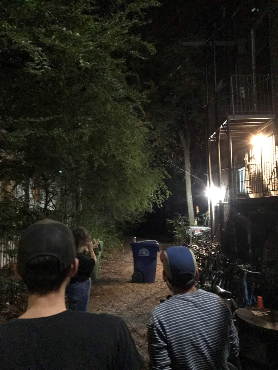 Rear view of 3 people looking into the trees at night, next to a  building with 2 bright lights mounted