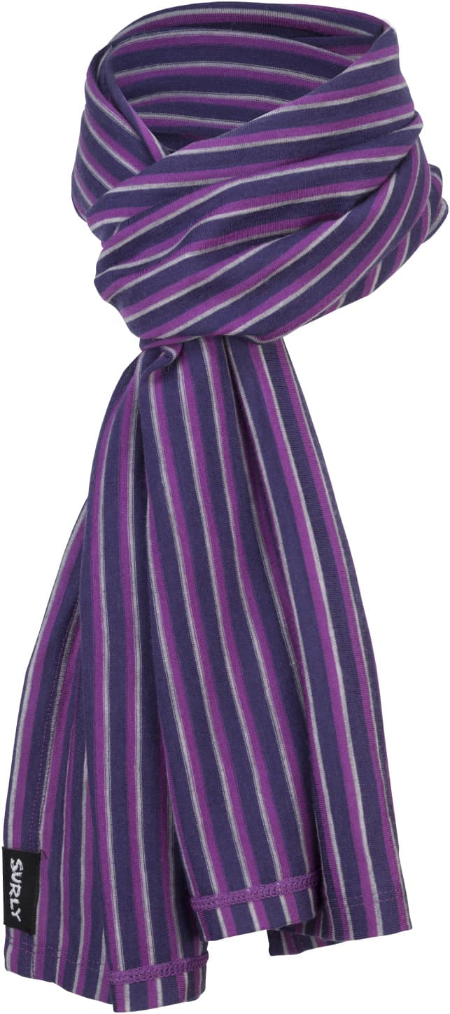 Surly wool scarf - Dark blue, Gray and Purple parallel stripes - Front View