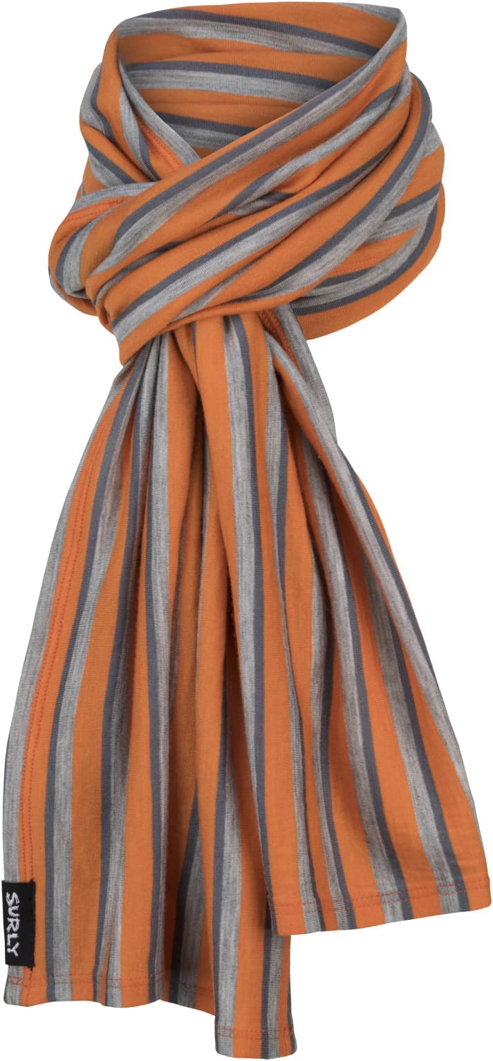 Surly wool scarf - Orange, Light Gray and blue parallel stripes - Front View
