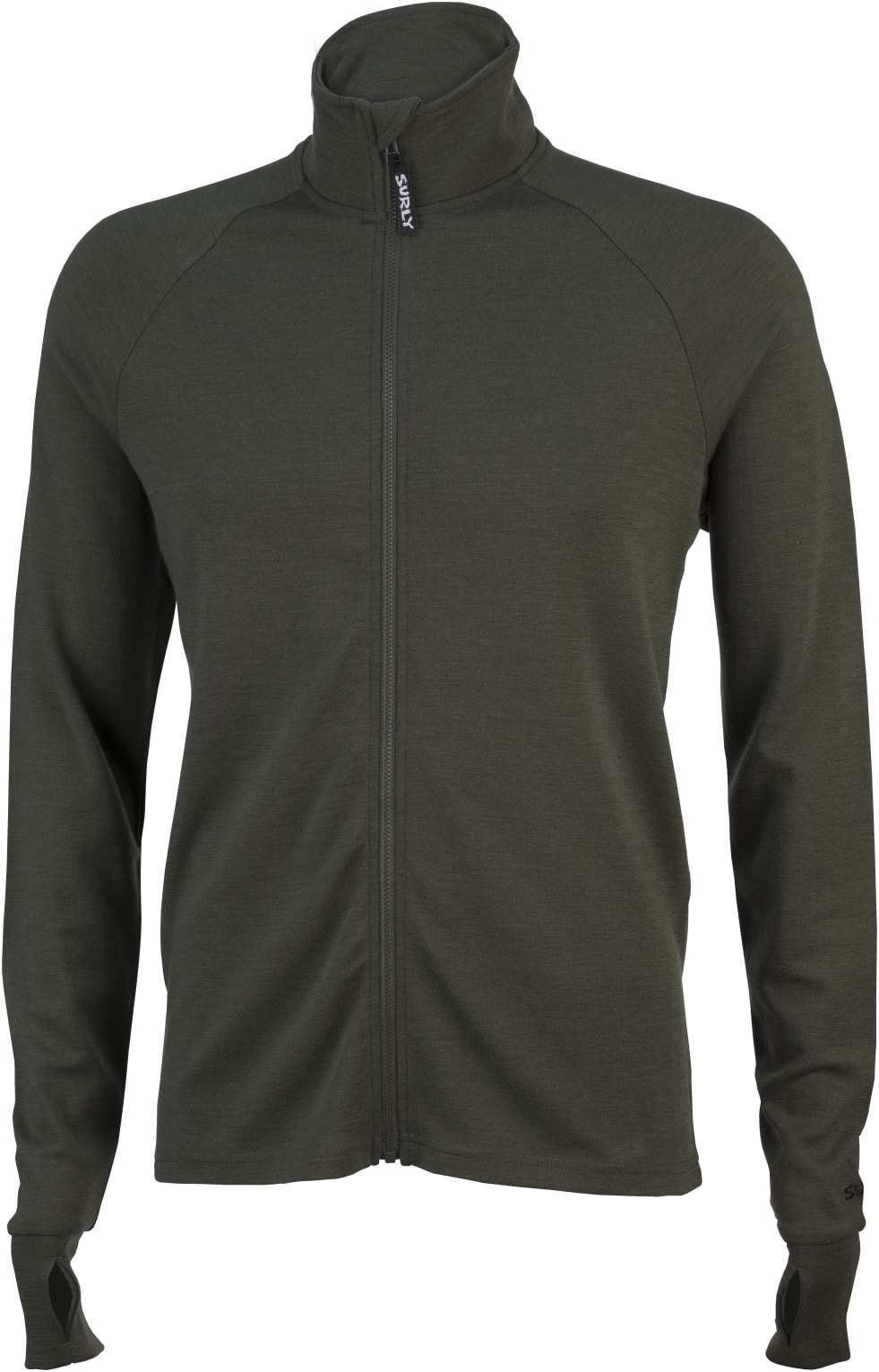 Surly full zip long sleeve bike jersey - olive drab - front view