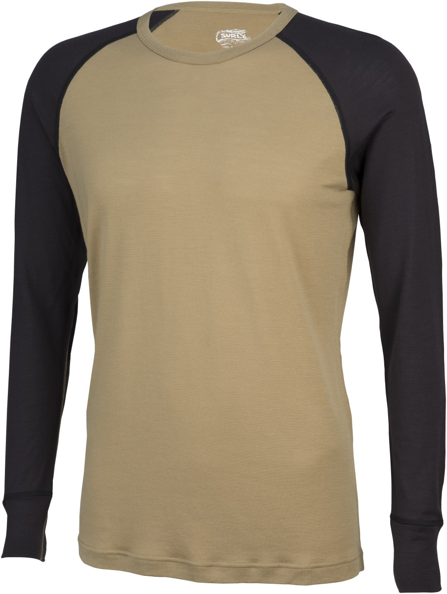 Surly Raglan long sleeve shirt - tan with black sleeves - front view