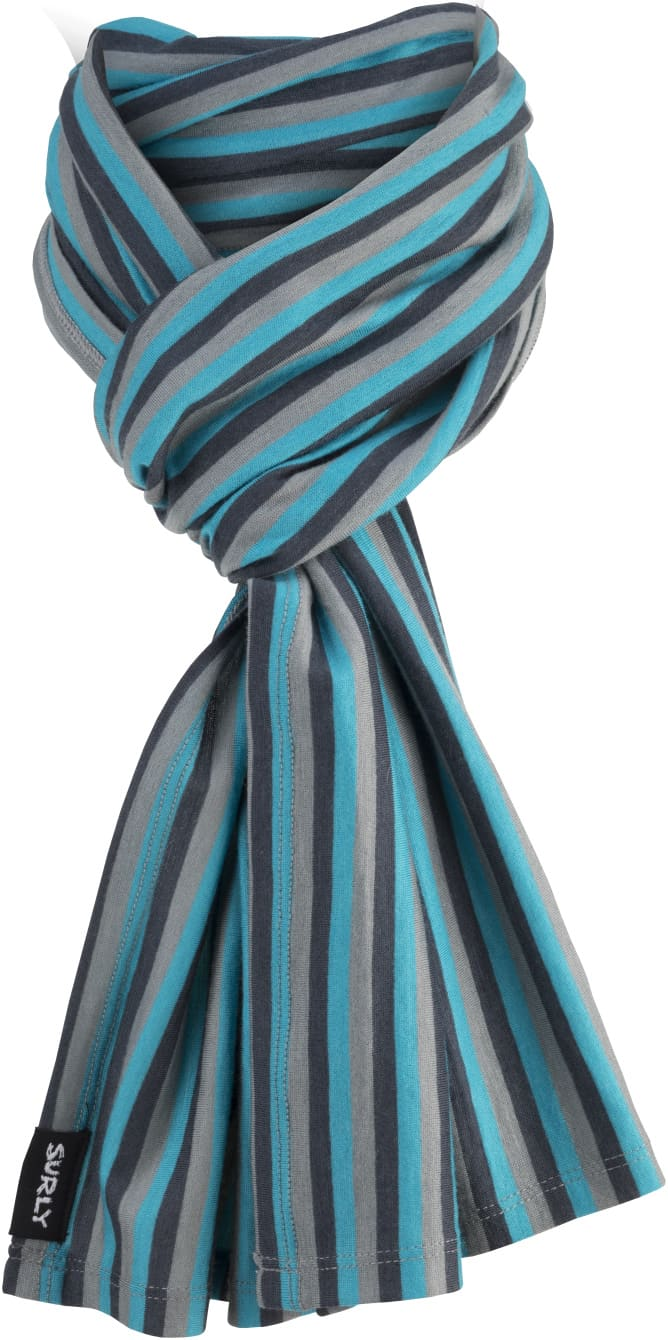 Surly wool scarf - Teal, Black and Gray parallel stripes - Front View