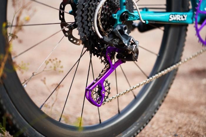 purple rear Derailleur wheel