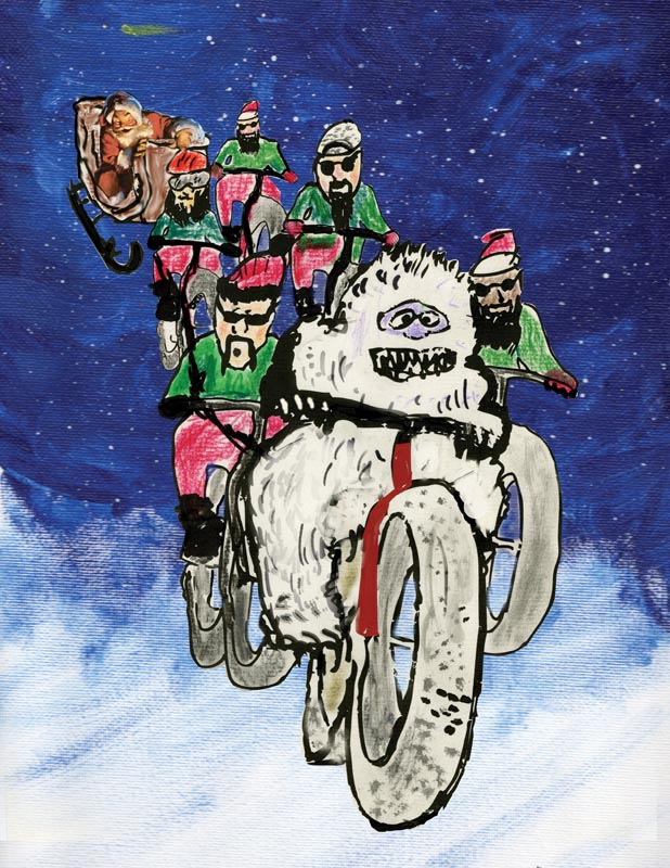 A marker drawn illustration of an abominable snowman, riding a fat bike through the sky, with elves and Santa behind