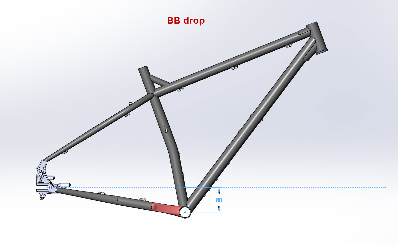 CAD illustration of a Surly ECR frame BB drop