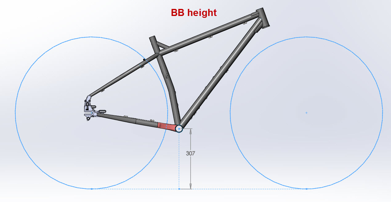 CAD illustration of a Surly ECR frame BB height
