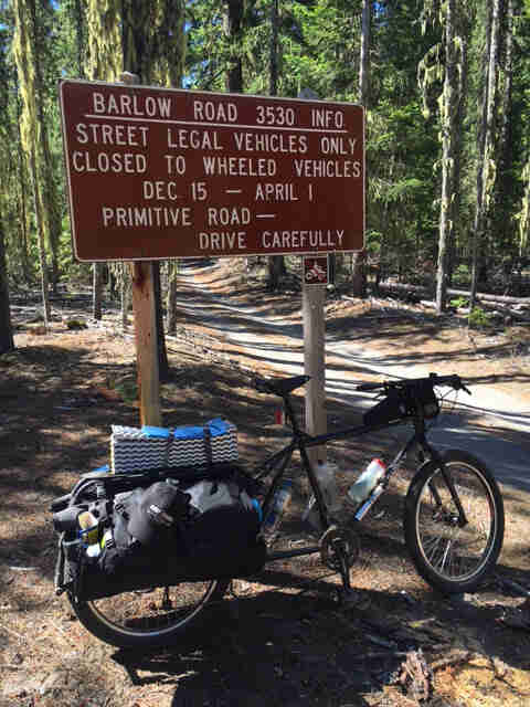 Right side view of a Surly Big Dummy bike, in front of a park sign, in a forest, with a gravel road in the background
