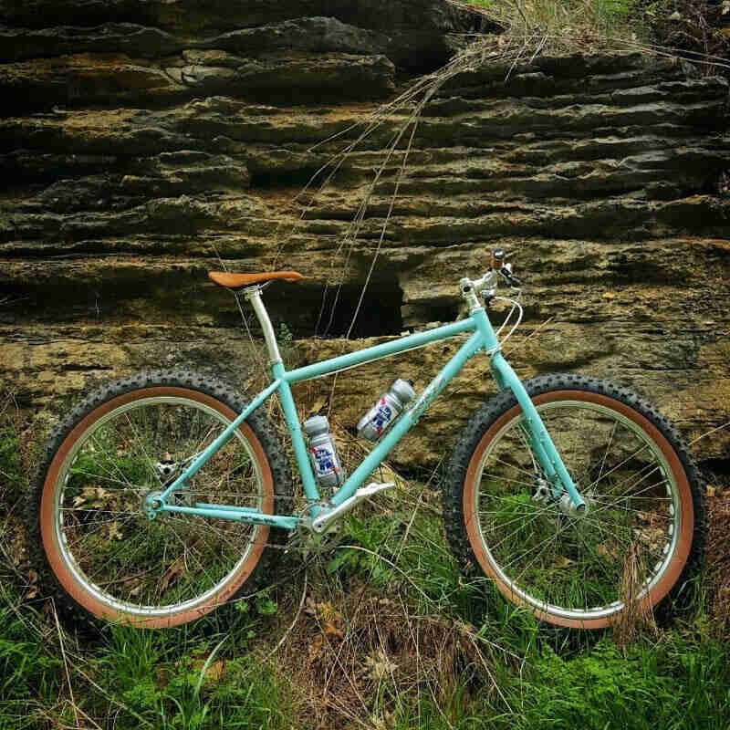 Right profile of a turquoise Surly fat bike with PBR water bottles, standing in weeds, in front of a rock ledge wall
