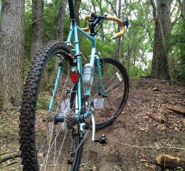 Rear view of a turquoise Surly Cross Check bike, parked on a dirt trail in the woods