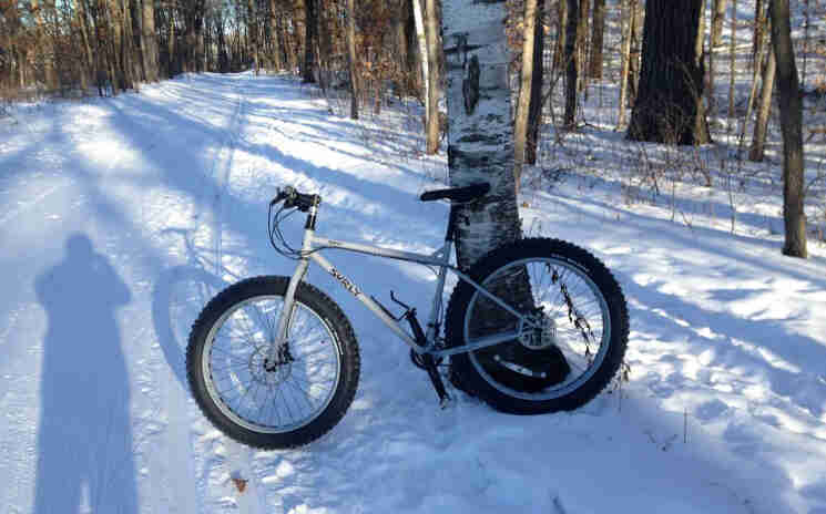 Left side view of a silver Surly Pugsley fat bike parked on the side of a snow covered road in the woods