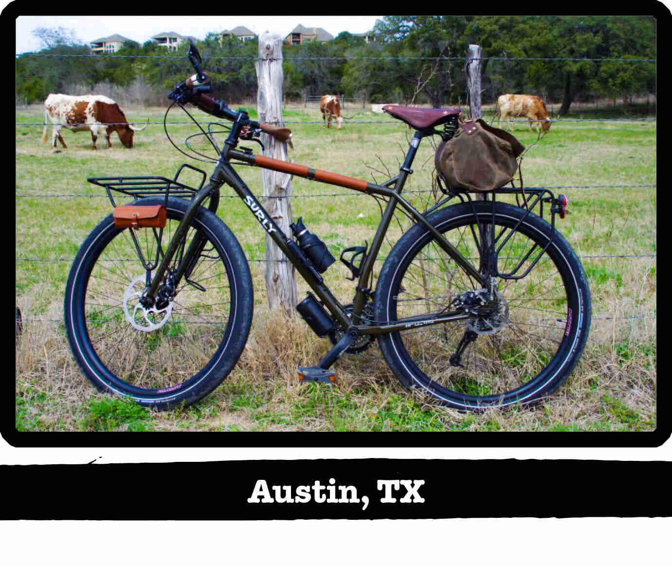 Left view of a Surly ECR bike, olive drab, against a fence with longhorns on a pasture - Austin, TX tag below image