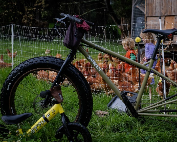 Left side view of a Surly Big Fat Dummy bike, in front of a chicken pen, with children inside