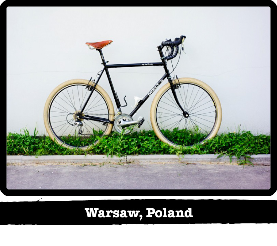 Right side view of a black Surly Long Haul Trucker bike standing in weeds - Warsaw, Poland banner below image