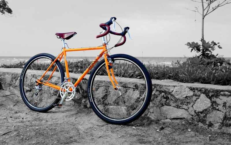 Right side view of an orange Surly Cross Check bike, parked against a short stone wall with the ocean in the background