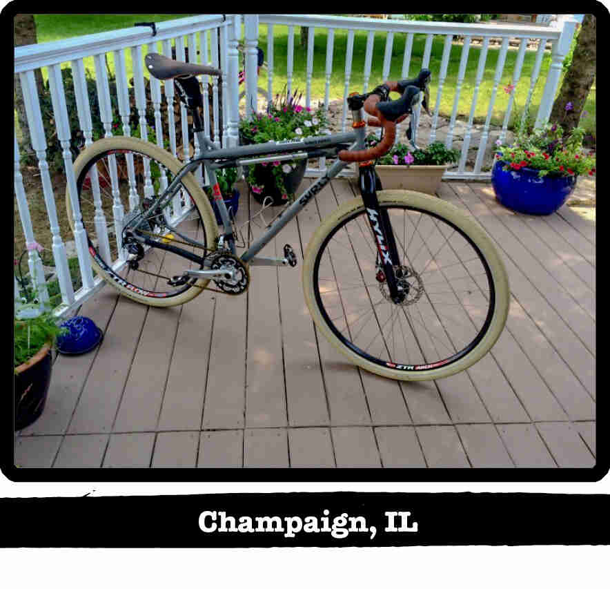 Right profile of a Surly Karate Monkey bike, gray, on a porch of a home - Champaign, IL tag below image