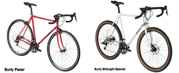 Front angle right side view of a Surly Pacer bike and Surly Midnight Special bike,side by side, with a white background