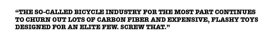 Black text on a white background, showing a person's quote about expensive bikes