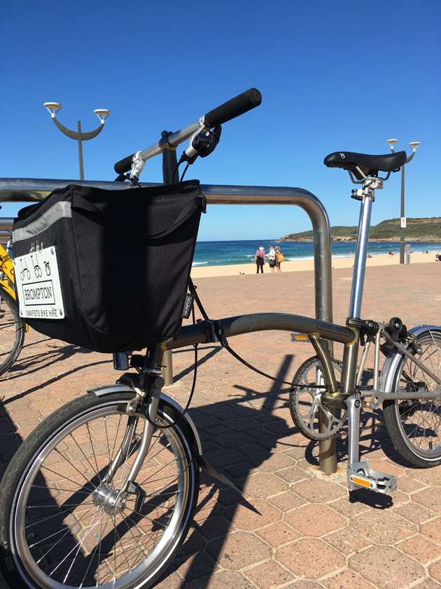 Left profile view of a silver foldable bike leaning against a steel handrail with a beach and ocean in the background