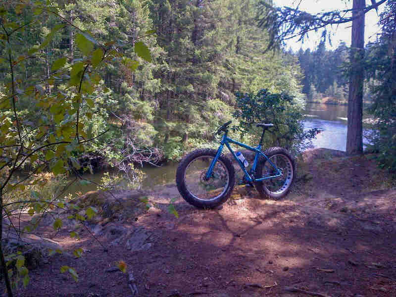 Left side view of a Surly Ice Cream Truck fat bike, blue, parked in dirt on a bank above a lake, with trees behind