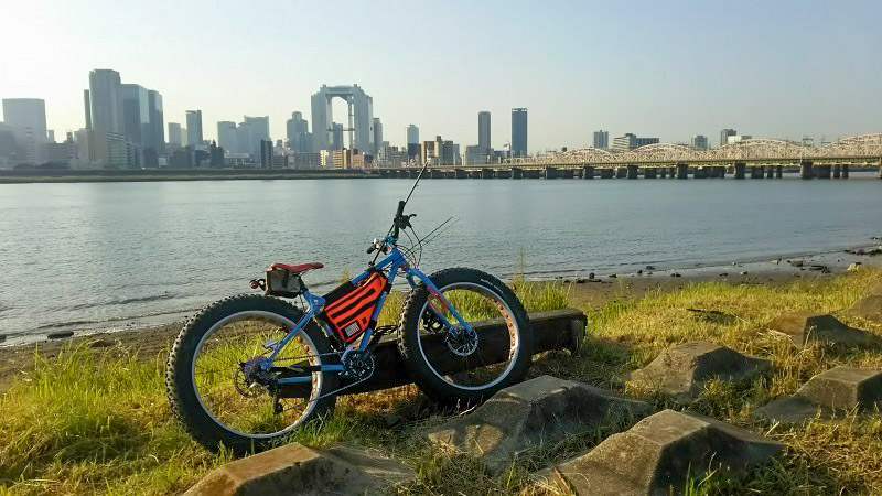 Right side view of a Surly Ice Cream Truck bike, parked on a grassy lakeshore, with a bridge and city in the background