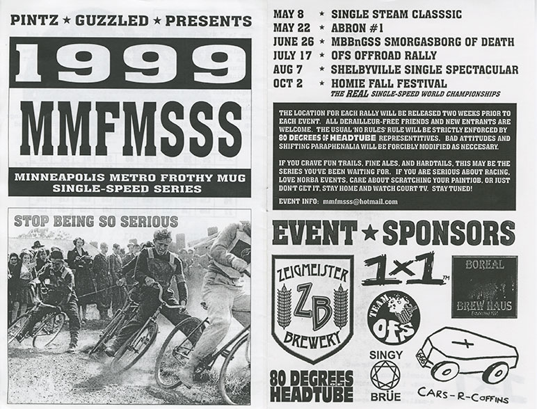 A 2 page spread from a 1998 Surly Bikes catalog, showing a black & white ad for the 1999 MMFMSSS bike race