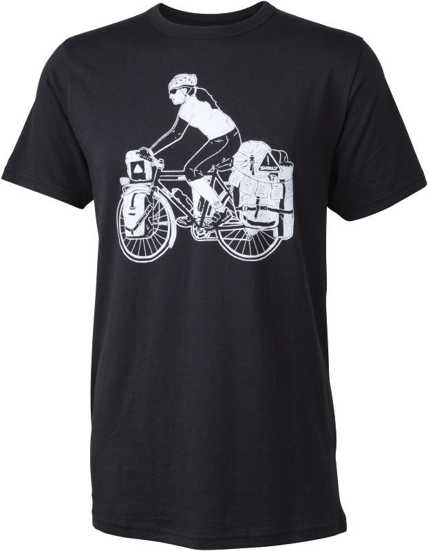 Surly t-shirt with a drawing of a cyclist on bike loaded with gear - men's - black - front view