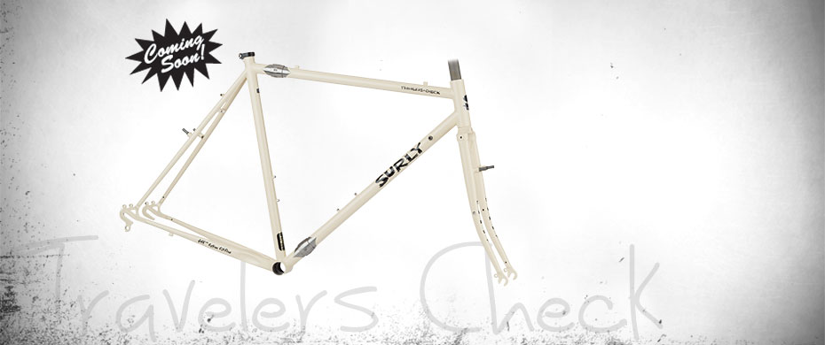 Surly Travelers Check bike frame - white - right side view - faded white background with a