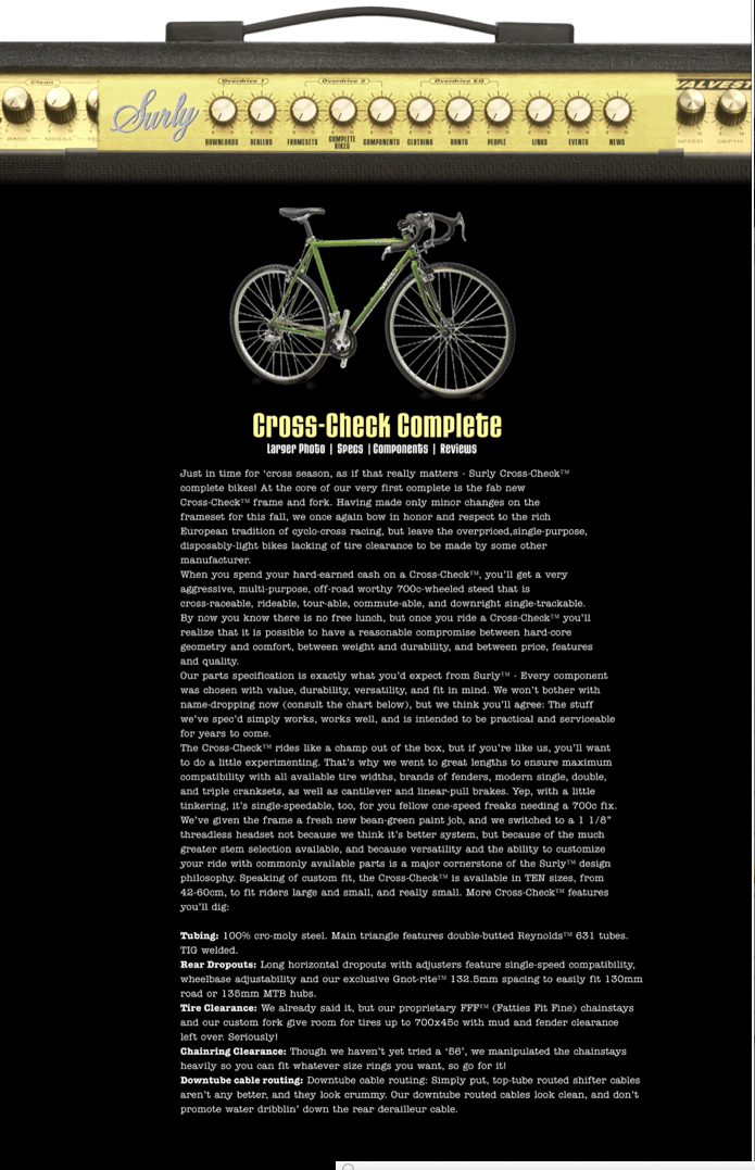 A screenshot of the Surly Bikes website, designed with a speaker background, with a bike image, above a body of text
