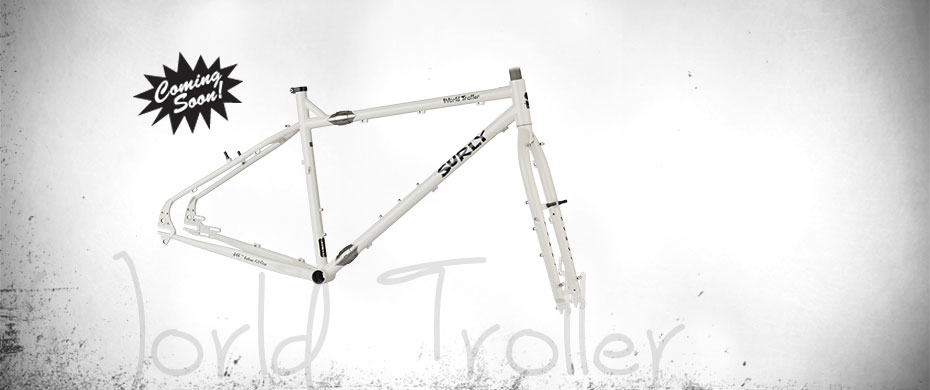 Surly World Troll bike frame - white - right side view - faded white background with a