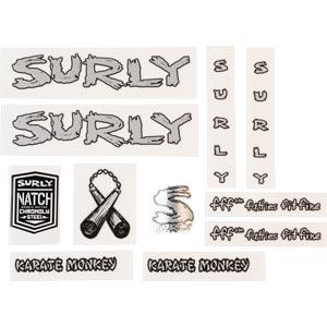 Surly Karate Monkey Frame Decal Set - Metallic Silver