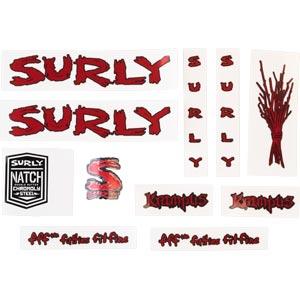 Surly Krampus Frame Decal Set - Metallic Red, with Sticks