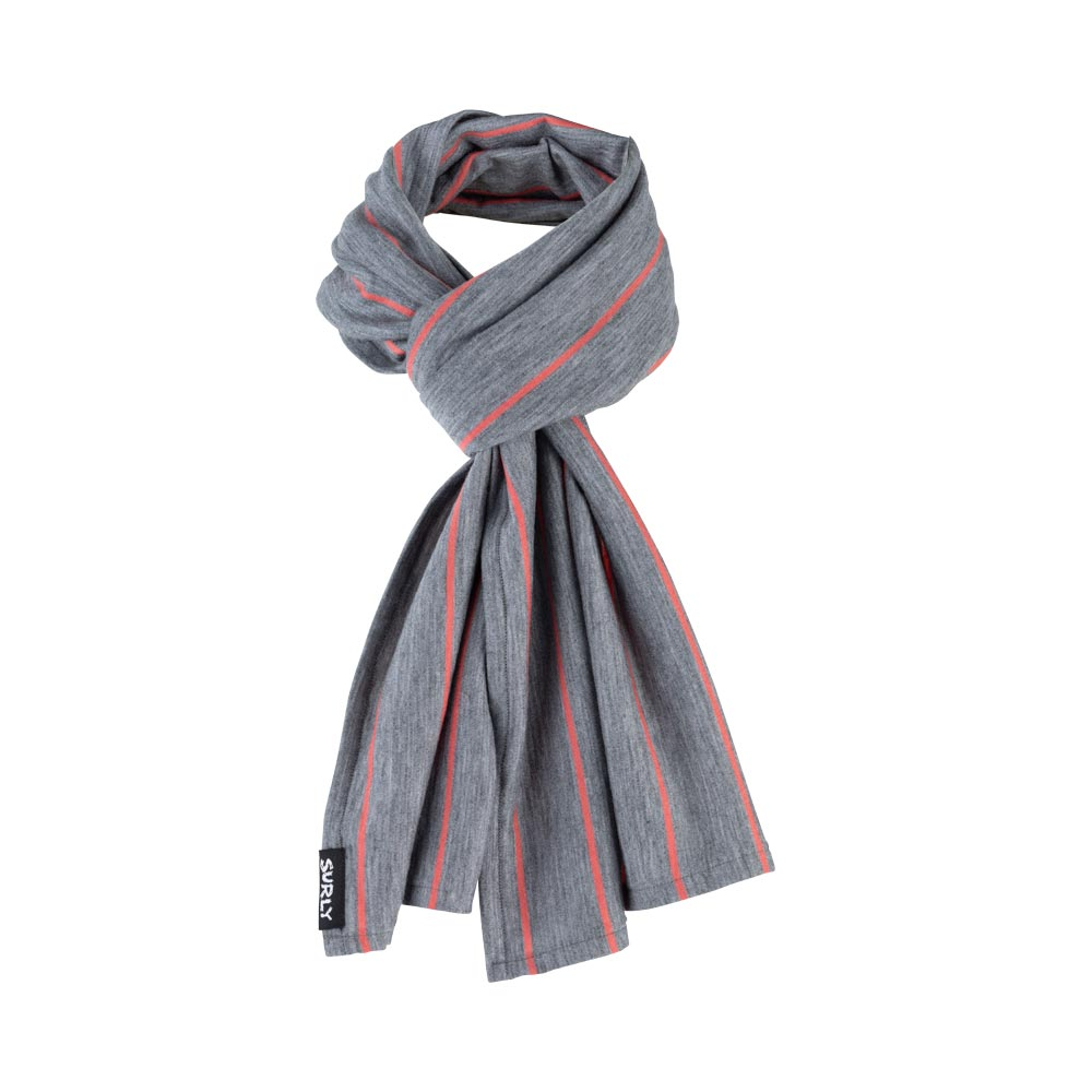 Surly Merino Wool Scarf: Gray/Orange Stripe, One Size