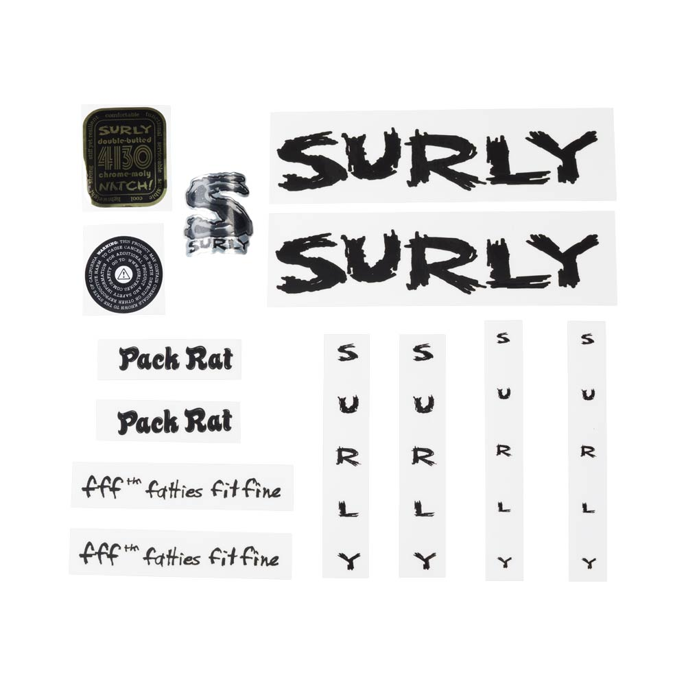 Surly Pack Rat Decal Set, Black