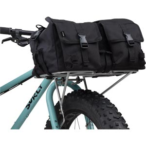 Surly Porteur House Bag - mounted on 24-pack front bike rack showing bottom slightly