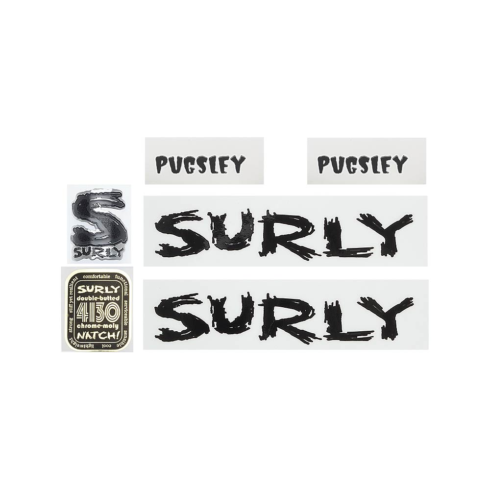 Surly Pugsley Decal Set, Black