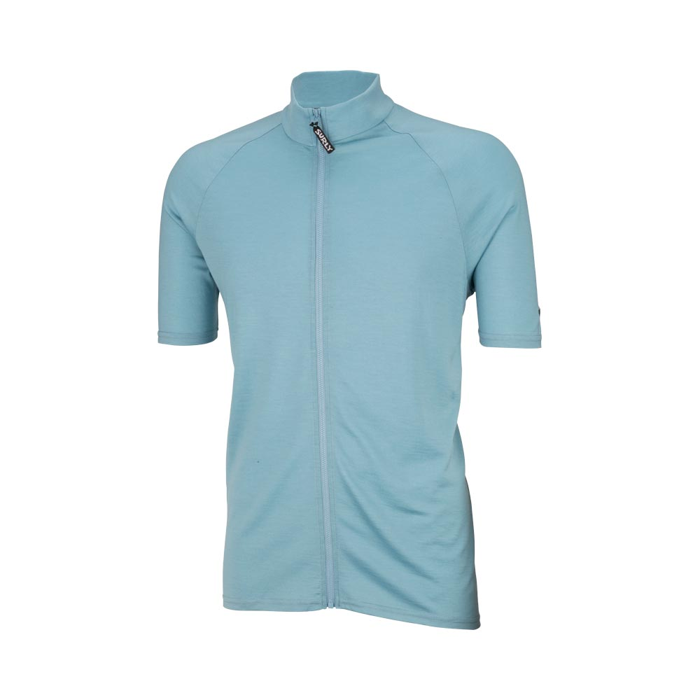 Surly Men's Merino Wool Short Sleeve Jersey, Tile Blue