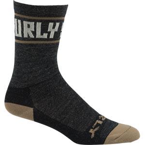 "Surly Sports Logo 5"" Wool Sock, Black/Cream"