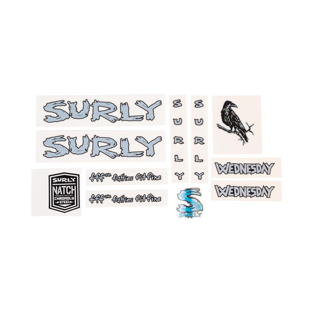 Surly Wednesday Decal Set Light Blue, with crow