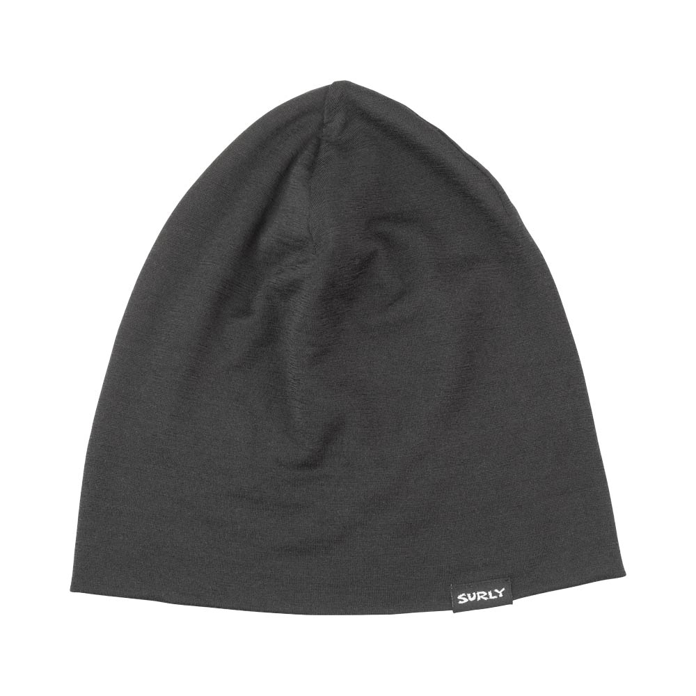 Surly Wool Beanie, Black, flat un-folded