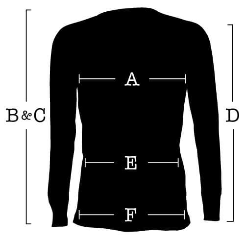 Raglan Shirt with measurements for (A) Chest, (B) Front length, (C) Back length, (D) Sleeve, (E) Waist, (F) Hip