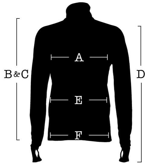 Long Sleeve Jersey with measurements for (A) Chest, (B) Front length, (C) Back length, (D) Sleeve, (E) Waist, (F) Hip