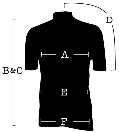 Short Sleeve Jersey with measurements for (A) Chest, (B) Front length, (C) Back length, (D) Sleeve, (E) Waist