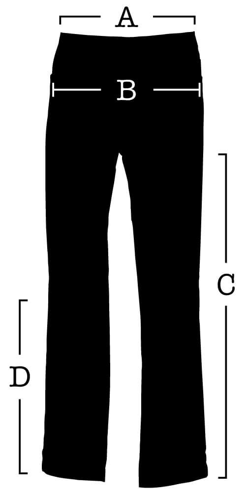 Pants with measurements for (A) Waist, (B) Seat, (C) Inseam, (D) Knee