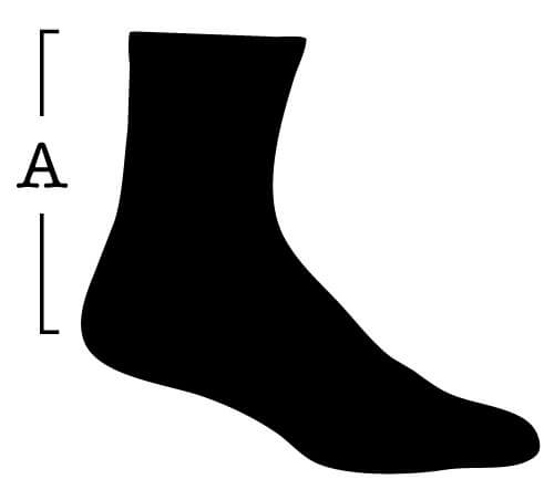 Sock with measurement for (A) Length